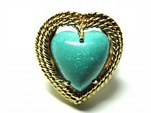 18K. Gold Lady's Heart Shape Turquoise