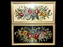 Pair Of Framed Needlepoint's Of Flowers