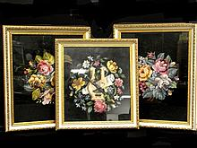 Framed Needlepoint's Of Flowers Three Total