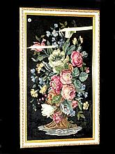 Framed Needlepoint Bouquet Of Flowers