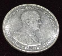 1930 Admiral Horthy Silver 5 Pengo