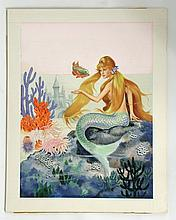 The Little Mermaid Original Book Painting Signed By Artist Jeanne Voelz