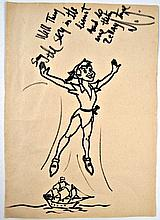 Michael Jackson Original Peter Pan Drawing With Jackson Handwritten Bad Lyrics and Autograph