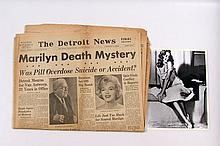 Marilyn Monroe Original Detroit News Death Newspaper & File Photo