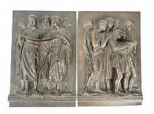Deux plaques en bronze à patine brune figurant le chaeur florentin en bas relief. 28 x 18.5 cm