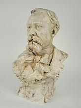 BASTIE. Buste d'homme en plâtre original signé et daté 90. H. 54 cm