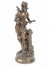 BOURET 'La cigale'.  Sujet en bronze en patine brune. Signé. H. : 41 cm