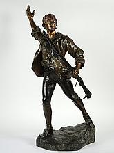 P. CHOPPIN. 'Le volontaire de 1792'. Bronze à double patine. Signé. H. : 90 cm