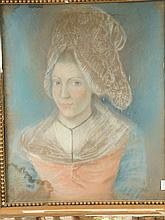 Ecole française XIXe 'Portrait de femme à la coiffe'.   Pastel.