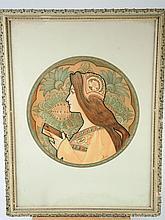 J. ATCHE.  Paire de lithographies Art Nouveau 'Profil de jeunes femmes'.