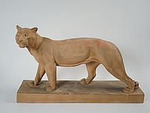 ROCHARD 'Lionne marchant'.  Sculpture en terre cuite patinée.