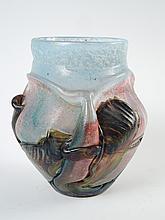 NOVARO.  Vase en verre soufflé et irisé.