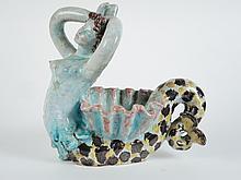 R.BUTHAUD.  Sculpture en céramique polychrome 'sirène'.