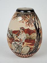 CIBOURE.  Vase en céramique à décor de paysage basque animé.