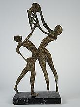 PASTOGLOU 'le panier de basket'.  Sculpture en bronze, Epreuve d'artiste, socle en marbre.
