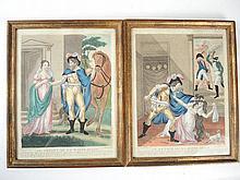Paire de lithographies en couleur XIXe,