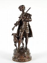 S. KINSBURGER. 'En chasse'. Sculpture en bronze à patine brune, signée. H. 44 cm
