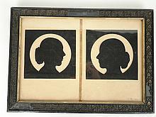 Deux profils de femme en papier découpé monogrammés en bas à droite et datés 1829