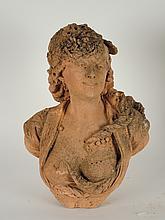 CARRIER-BELLEUSE 'Allégorie de Flore', Sculpture en terre cuite. Signée.  H. 61 cm