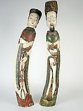 Couple de dignitaires en ivoire polychrome,