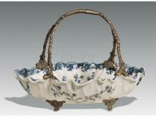 Porcelain inlaid copper basket