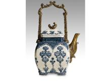 Blue and white inlaid copper teapot