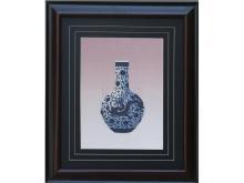 Blue and white dragon embroidery Vase (Suzhou Embroidery with Blue and White Dragon Vase Pattern)