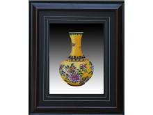 Floral embroidery yellow to reward bottle (Suzhou Embroidery with Flower Vase Pattern)