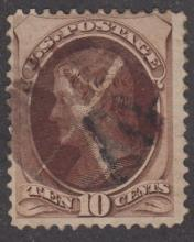 US STAMP SCOTT# 150 10 CENTS JEFFERSON BROWN USED CANCEL MARK.