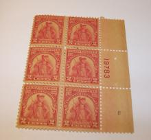 US Stamps Scott# 657, Mint 6 Block Plate Set, Sullivan Expedition, Carmine Rose.