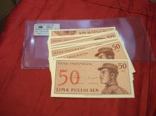 WORLD PAPER CURRENCY INDONESIA 50 SEN, UNC, MINT (LOT OF 50) , BRIGHT 1964 ISSUE SET.