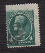 US Stamp, Scott# 211, Jackson, 4 Cents, Used, (Blue/Green). Date 1883. Catalog Value $20 to $27.50.