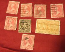 US STAMPS WASHINGTON 2 CENT STAMPS (LOT OF 6) USED, SCOTT# 279B, TYPE IV, PLUS BONUS SCOTT# 222 AND E13, USED. SEE GREAT PHOTOS!
