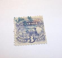US Stamp Scott# 114 Locomotive, 3 Cents, Ultramarine, Used. Date 1869