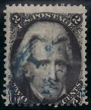 US Stamp Scott# 73 Jackson, 2 Cents, Used with Blue Cancel Cat. Value $40 to $65.