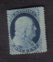 US Stamp Scott# 24 Franklin 1 Cent, Mint, Unused, Cat. Value $100 to $150. Date 1857.