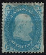 US Stamp Scott# 63, Franklin 1 cent, Blue, Used and Well Centered, Cat. Value $40 to $50.