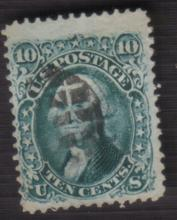 US Stamp Scott# 68 Washington 10 cents, Used, Cat. Value $40 to $60.