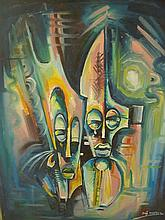 Abstract painting portrays two tribal masks with profuse use of colours, signed and dated bottom right 64cm x 79cm
