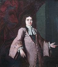 Three Quarter Length Portrait of a Gentleman Oil on Canvas dated 1694
