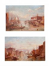 The Grand Canal Venice oil on canvas together with its companion The Ducal - a pair 74cm x 49cm (2)