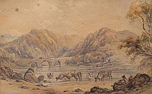 Cattle Drinking, watercolour circa 1851, 26cm x 17cm, bears signature  Provenance: purchased privately circa 1940, Bangor, Wales