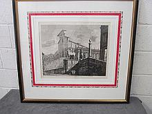 Luigi Rossini (Italian, 1790 - 1857) Etching in frame Veduta di fianco del Campidoglio di Roma Luigi Rossini (Italian, 1790-1857)