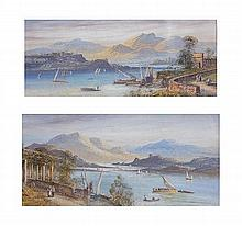 A pair of Continental (possibly Italy) Lake Scene watercolours