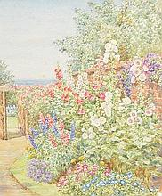 Garden path with foxgloves watercolour signed lower right