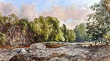 The Trout Stream Watercolour, signed bottom right