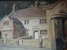 Oil on board street scene, signed with monogram, 28cm x 37cm