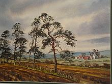 Farmland and Pine Trees, Near Baltinglass (County Wicklow mountains ) Watercolour, signed dated studio label on reverse