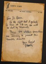 BACK TO THE FUTURE (1985) - Marty's (Michael J. Fox) Back-Up Letter to Dr. Brown (Christopher Lloyd)