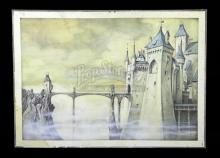 THE STORYTELLER (1987) - Brian Froud Hand-Painted Castle Bridge Production Artwork